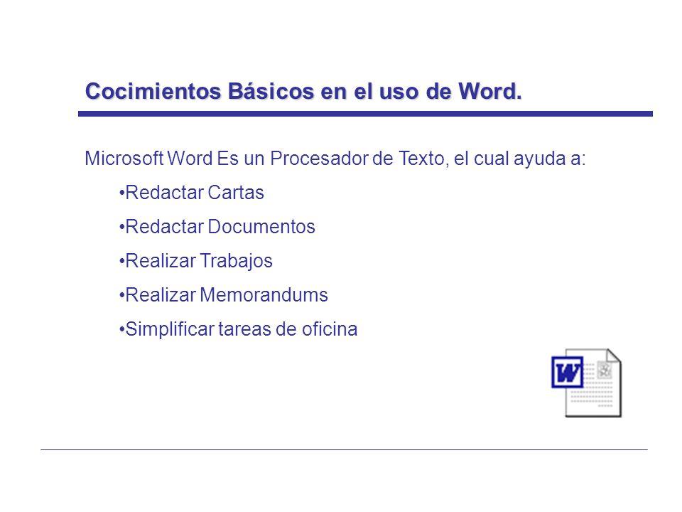 Cocimientos Básicos en el uso de Word.