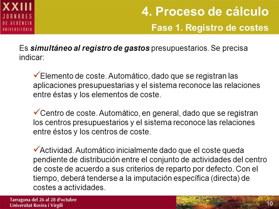 4. Proceso de cálculo Fase 1. Registro de costes
