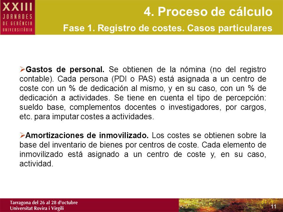 4. Proceso de cálculo Fase 1. Registro de costes. Casos particulares