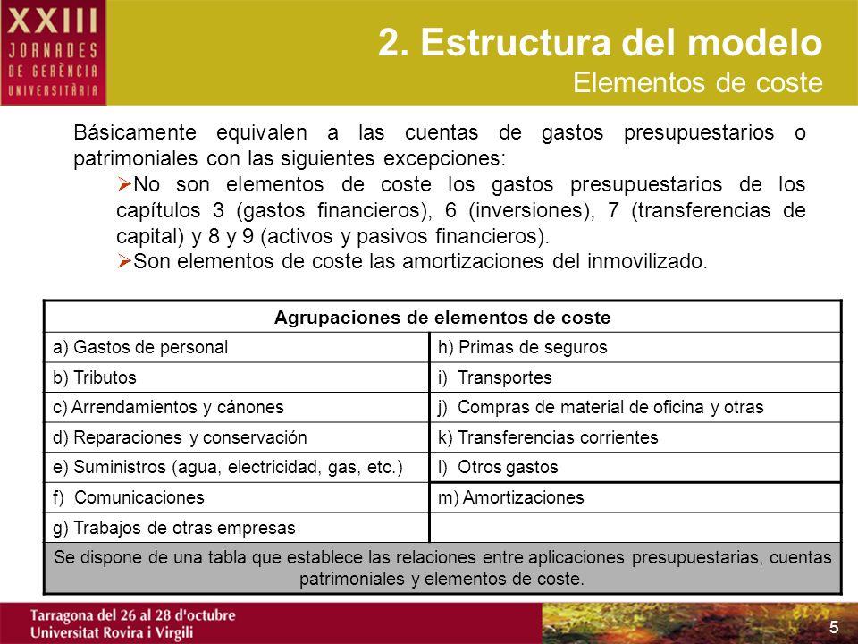 Agrupaciones de elementos de coste