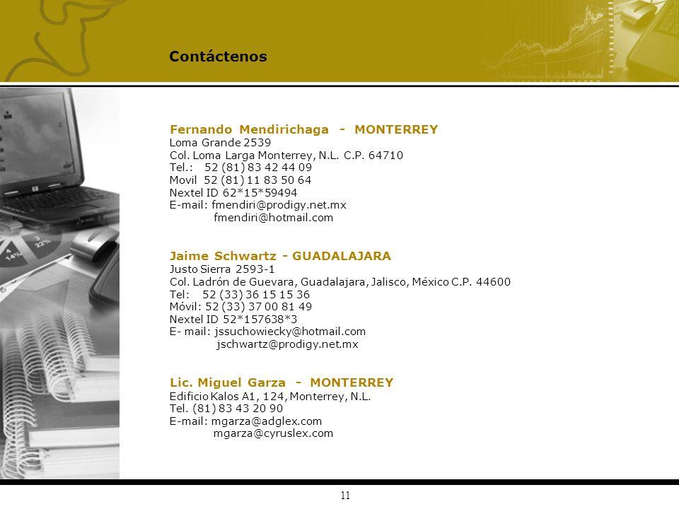 Contáctenos Fernando Mendirichaga - MONTERREY