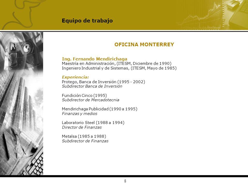 Equipo de trabajo OFICINA MONTERREY Ing. Fernando Mendirichaga