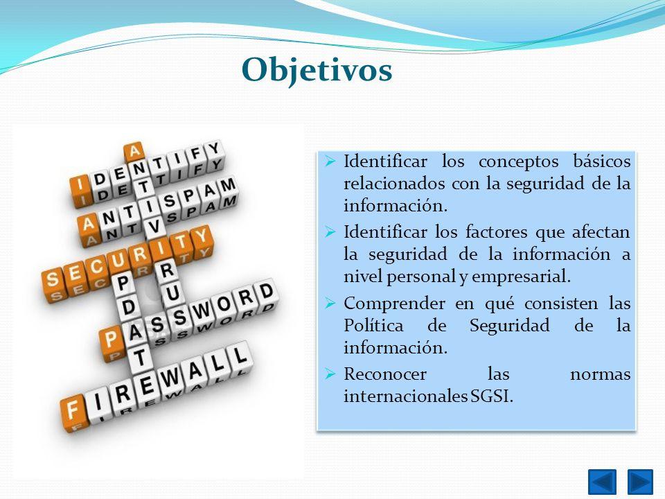 Objetivos Identificar los conceptos básicos relacionados con la seguridad de la información.