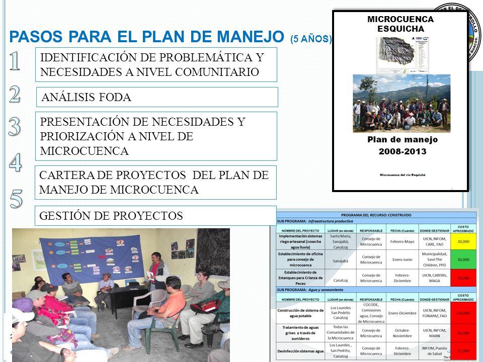 PASOS PARA EL PLAN DE MANEJO (5 AÑOS)