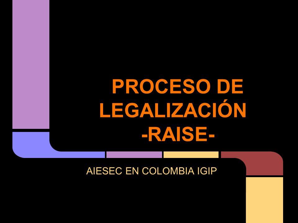 PROCESO DE LEGALIZACIÓN -RAISE-