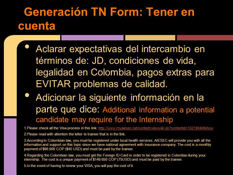 Generación TN Form: Tener en cuenta