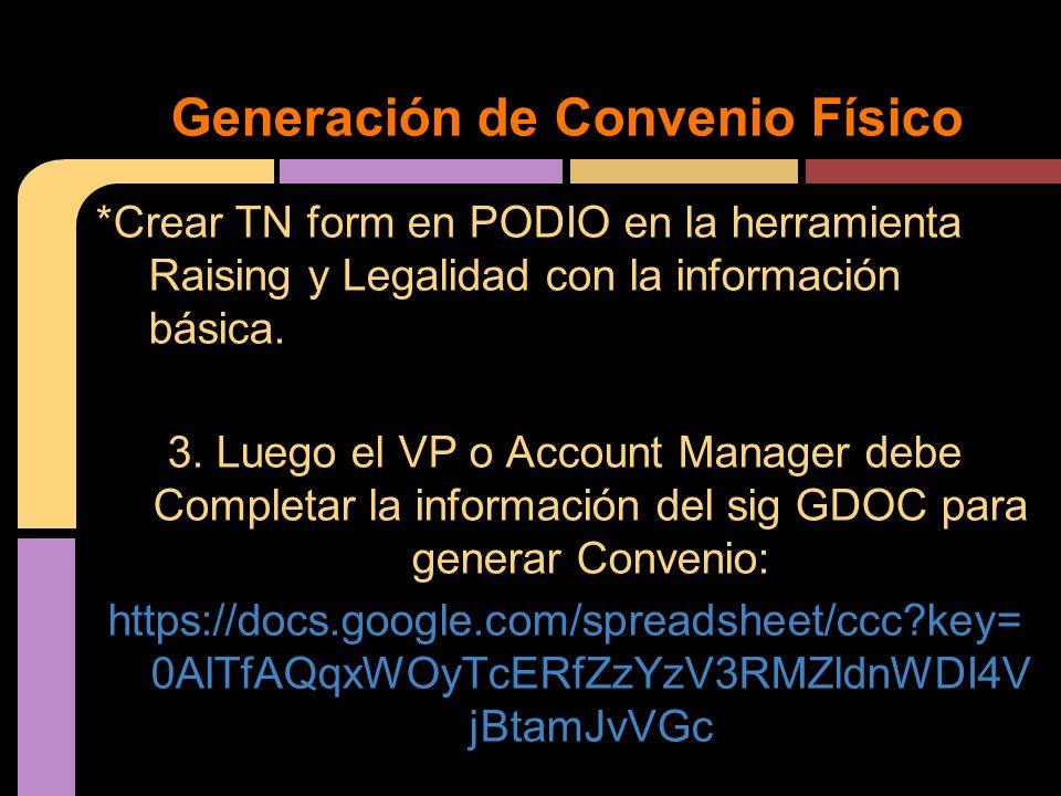 Generación de Convenio Físico