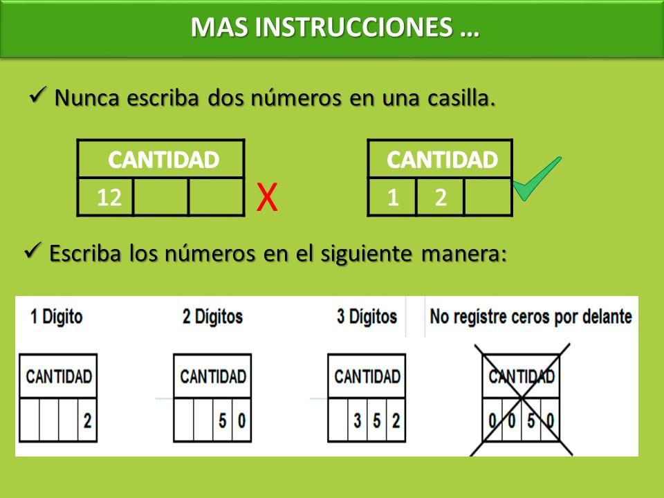 X MAS INSTRUCCIONES … Nunca escriba dos números en una casilla.