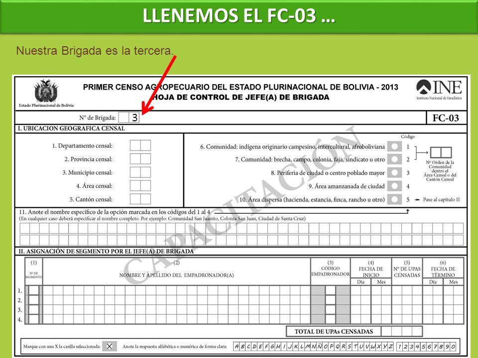 LLENEMOS EL FC-03 … Nuestra Brigada es la tercera. 3