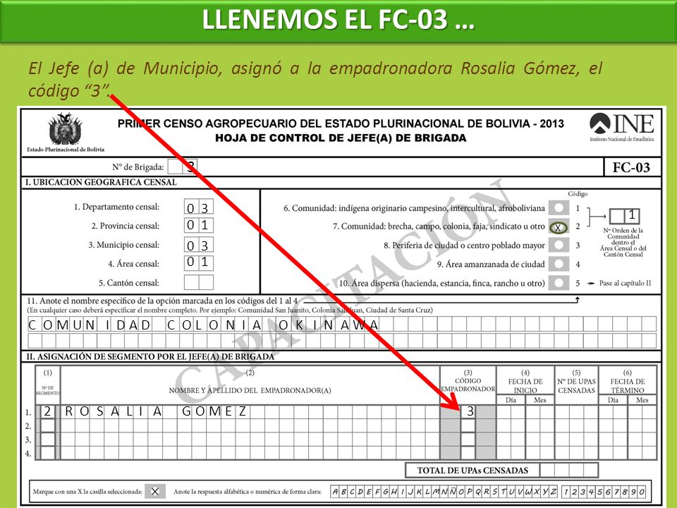 LLENEMOS EL FC-03 … El Jefe (a) de Municipio, asignó a la empadronadora Rosalia Gómez, el código 3 .