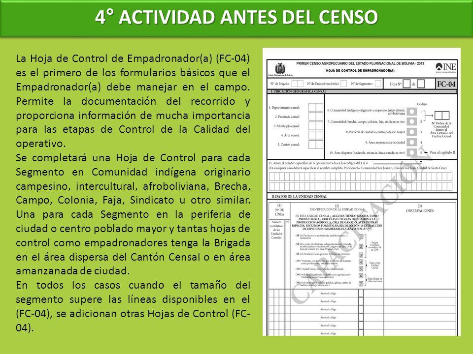 4° ACTIVIDAD ANTES DEL CENSO