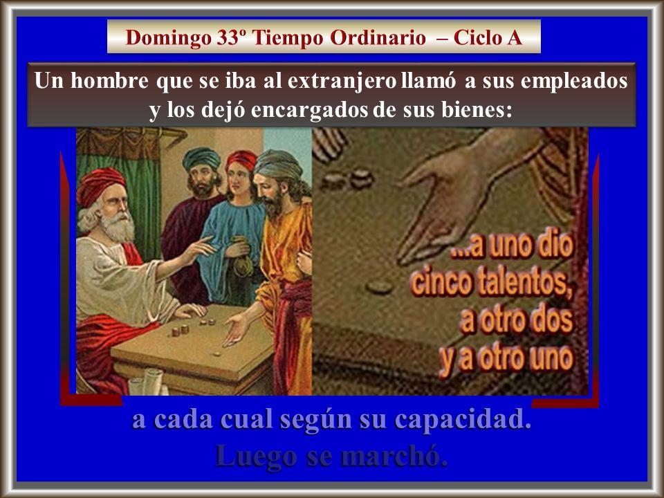 Domingo 33º Tiempo Ordinario – Ciclo A a cada cual según su capacidad.