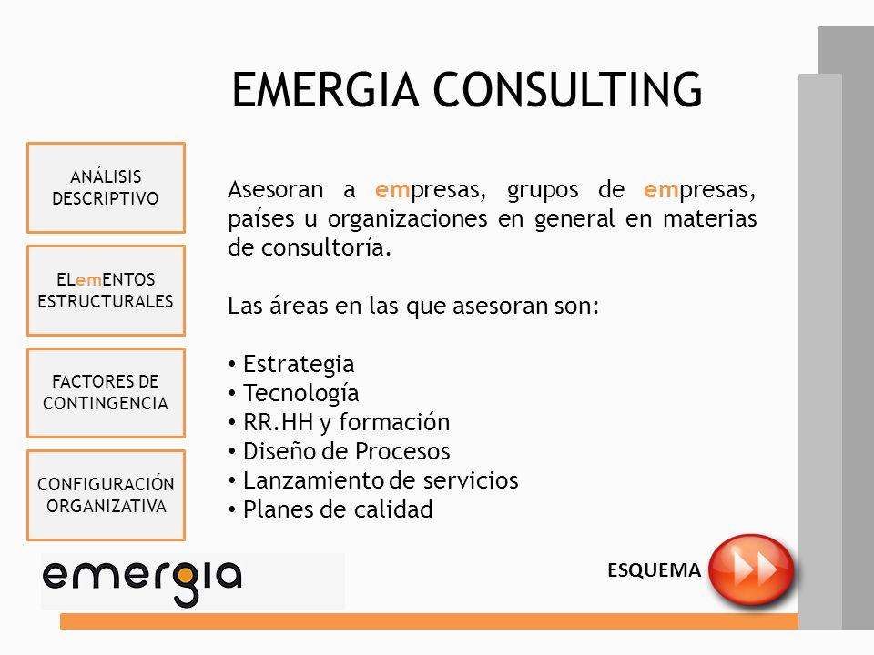 EMERGIA CONSULTING ANÁLISIS DESCRIPTIVO. Asesoran a empresas, grupos de empresas, países u organizaciones en general en materias de consultoría.