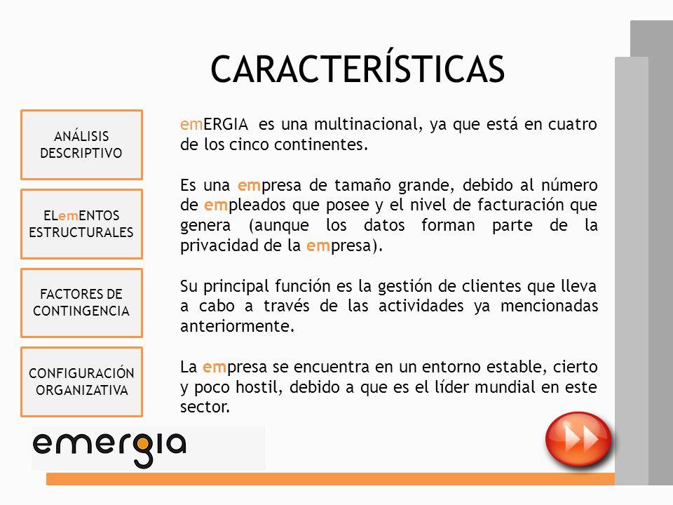 CARACTERÍSTICAS ANÁLISIS DESCRIPTIVO. emERGIA es una multinacional, ya que está en cuatro de los cinco continentes.