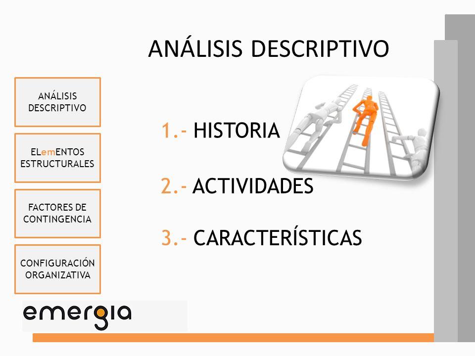ANÁLISIS DESCRIPTIVO 1.- HISTORIA 2.- ACTIVIDADES 3.- CARACTERÍSTICAS