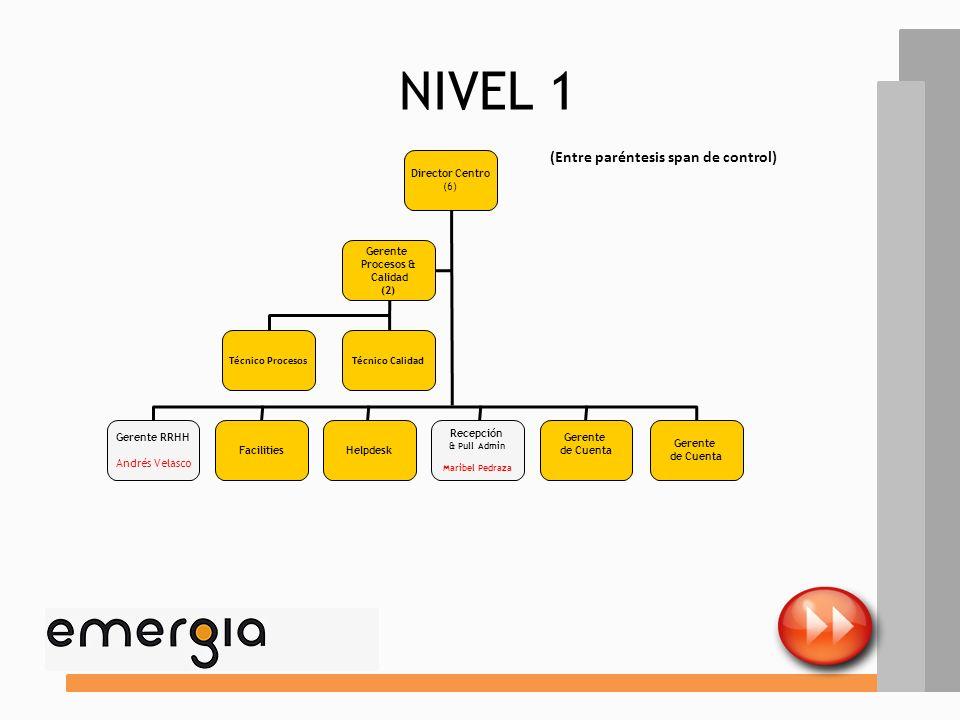 NIVEL 1 (Entre paréntesis span de control) Director Centro (6) Gerente