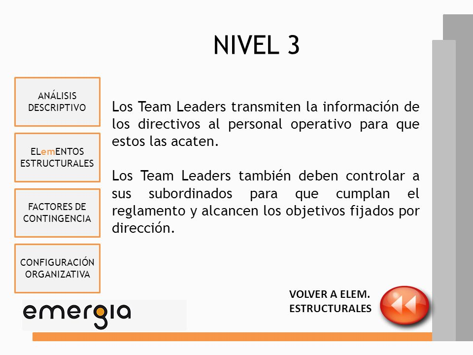 NIVEL 3 ANÁLISIS DESCRIPTIVO. Los Team Leaders transmiten la información de los directivos al personal operativo para que estos las acaten.