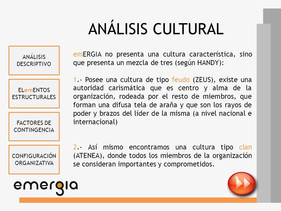 ANÁLISIS CULTURAL ANÁLISIS DESCRIPTIVO. emERGIA no presenta una cultura característica, sino que presenta un mezcla de tres (según HANDY):