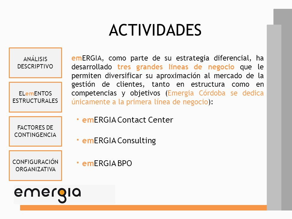ACTIVIDADES · emERGIA Contact Center · emERGIA Consulting