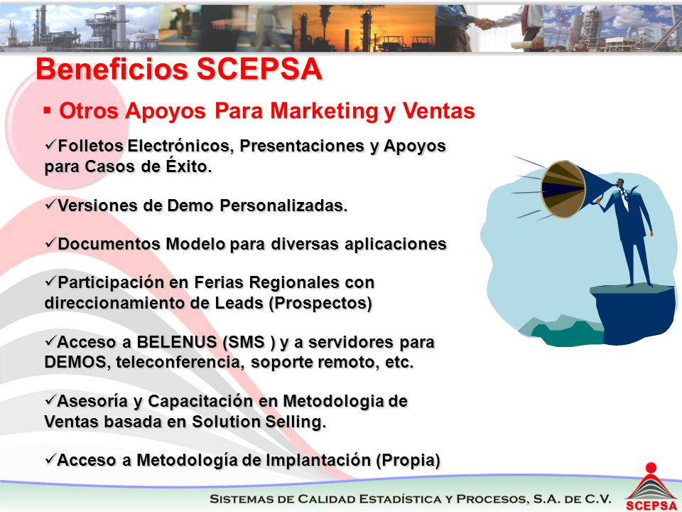Beneficios SCEPSA Otros Apoyos Para Marketing y Ventas