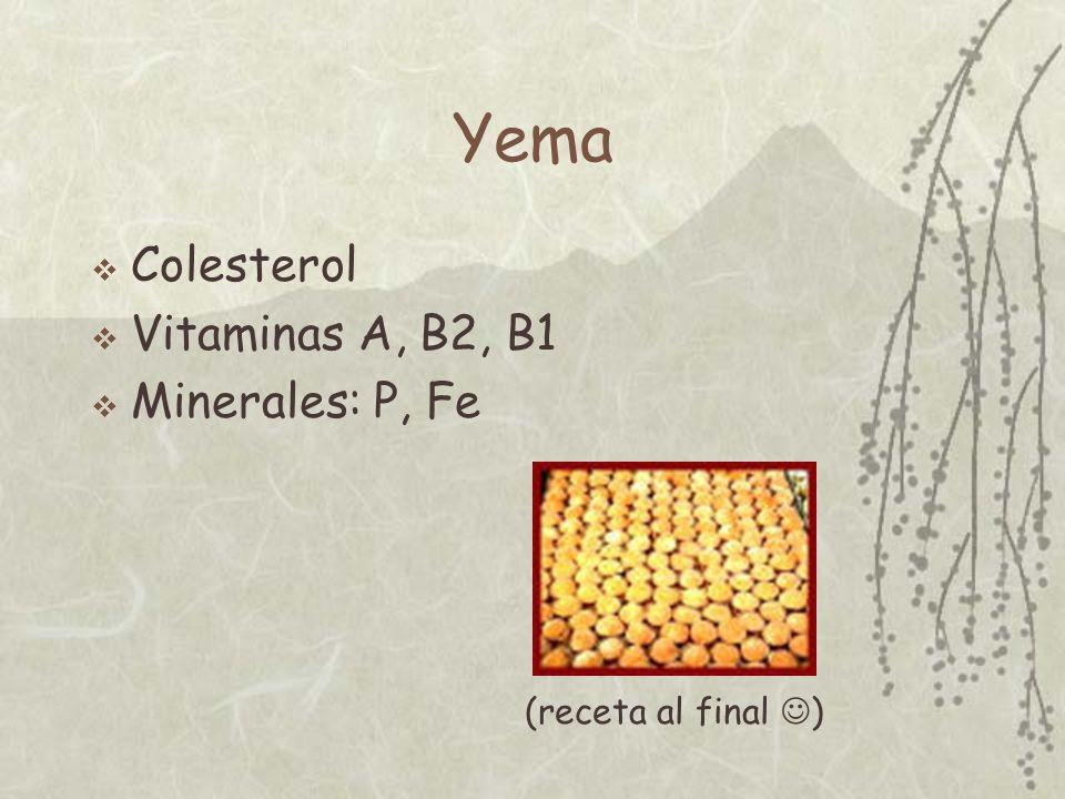 Yema Colesterol Vitaminas A, B2, B1 Minerales: P, Fe