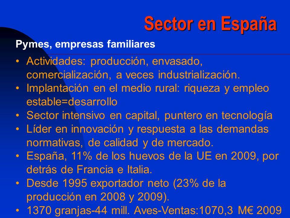 Sector en España Pymes, empresas familiares. Actividades: producción, envasado, comercialización, a veces industrialización.