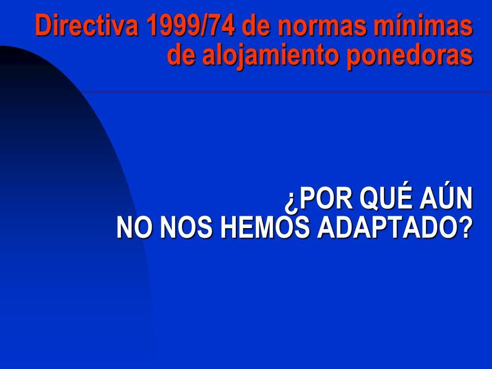 Directiva 1999/74 de normas mínimas de alojamiento ponedoras ¿POR QUÉ AÚN NO NOS HEMOS ADAPTADO