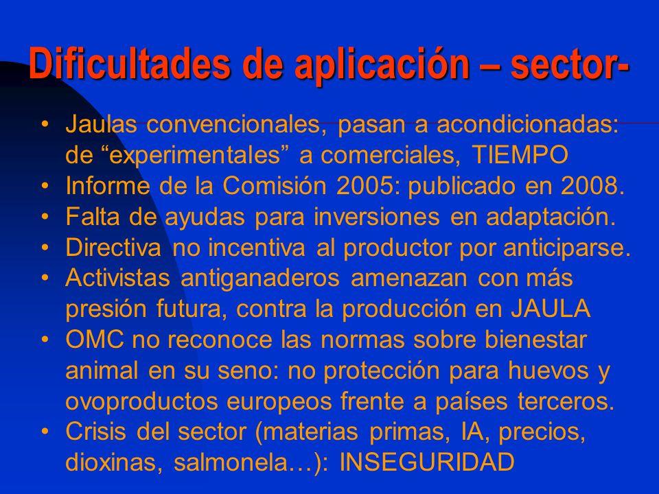 Dificultades de aplicación – sector-