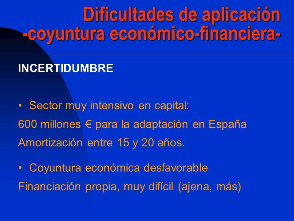 Dificultades de aplicación -coyuntura económico-financiera-