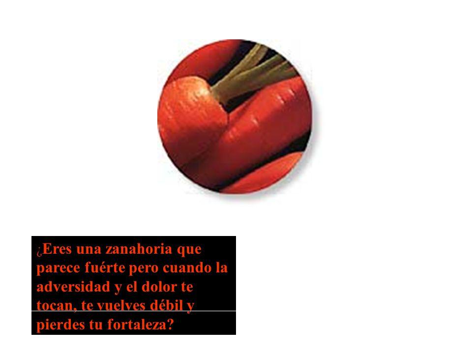 ¿Eres una zanahoria que parece fuérte pero cuando la adversidad y el dolor te tocan, te vuelves débil y pierdes tu fortaleza