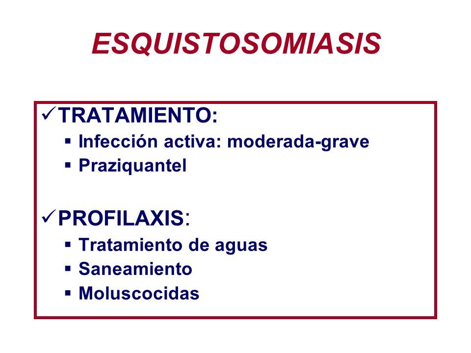 ESQUISTOSOMIASIS TRATAMIENTO: PROFILAXIS: