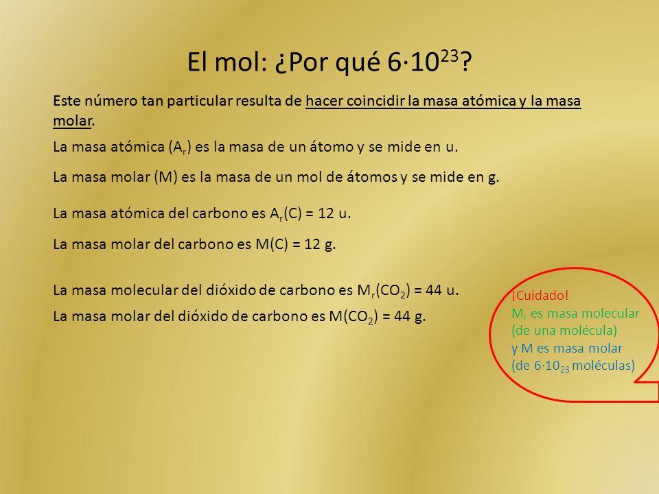 El mol: ¿Por qué 6·1023 Este número tan particular resulta de hacer coincidir la masa atómica y la masa molar.
