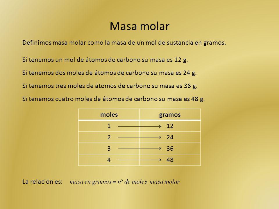 Masa molar Definimos masa molar como la masa de un mol de sustancia en gramos. Si tenemos un mol de átomos de carbono su masa es 12 g.