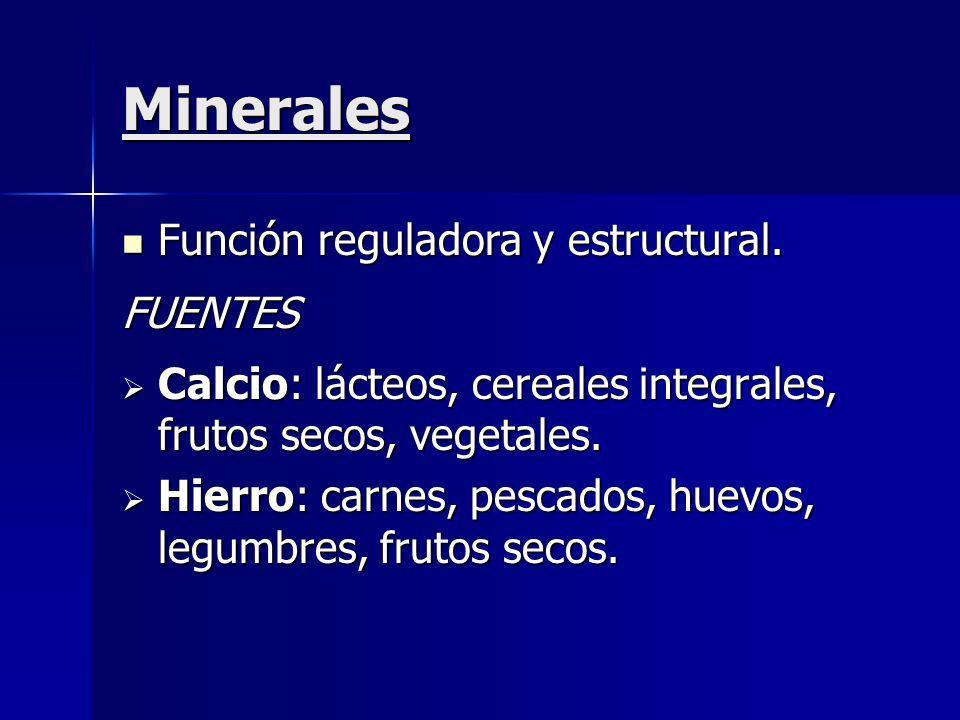 Minerales Función reguladora y estructural. FUENTES