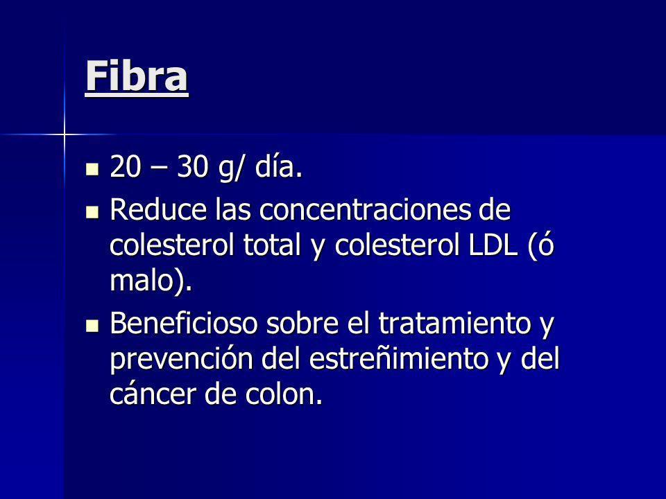 Fibra 20 – 30 g/ día. Reduce las concentraciones de colesterol total y colesterol LDL (ó malo).