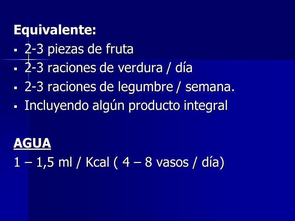 Equivalente: 2-3 piezas de fruta. 2-3 raciones de verdura / día. 2-3 raciones de legumbre / semana.