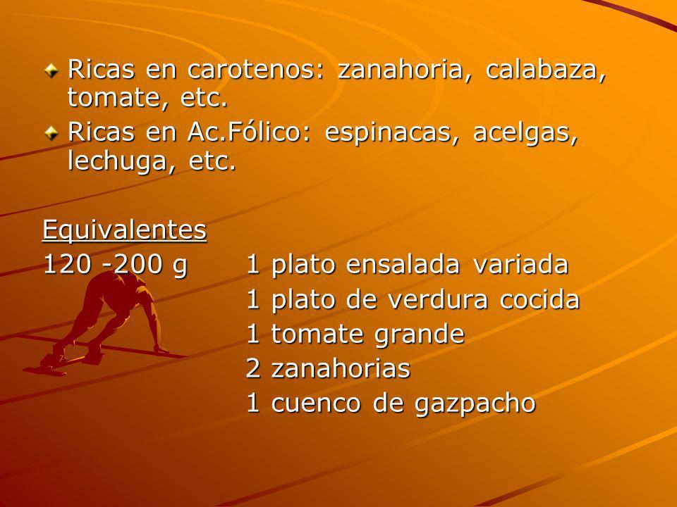 Ricas en carotenos: zanahoria, calabaza, tomate, etc.