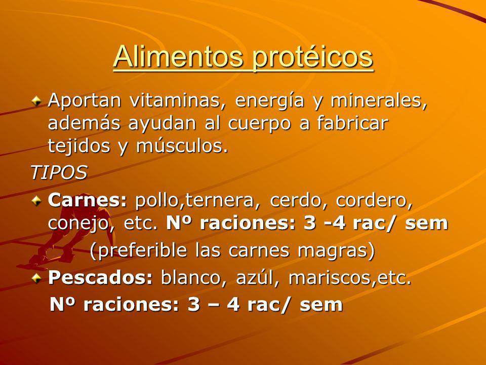 Alimentos protéicos Aportan vitaminas, energía y minerales, además ayudan al cuerpo a fabricar tejidos y músculos.