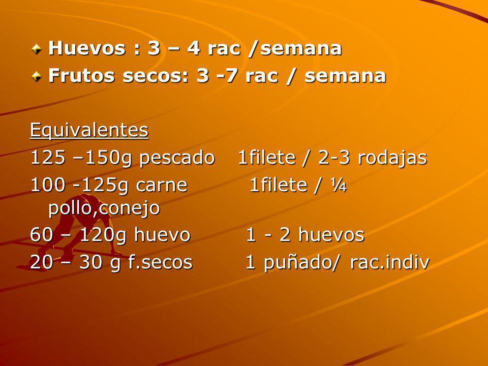 Huevos : 3 – 4 rac /semana Frutos secos: 3 -7 rac / semana. Equivalentes. 125 –150g pescado 1filete / 2-3 rodajas.