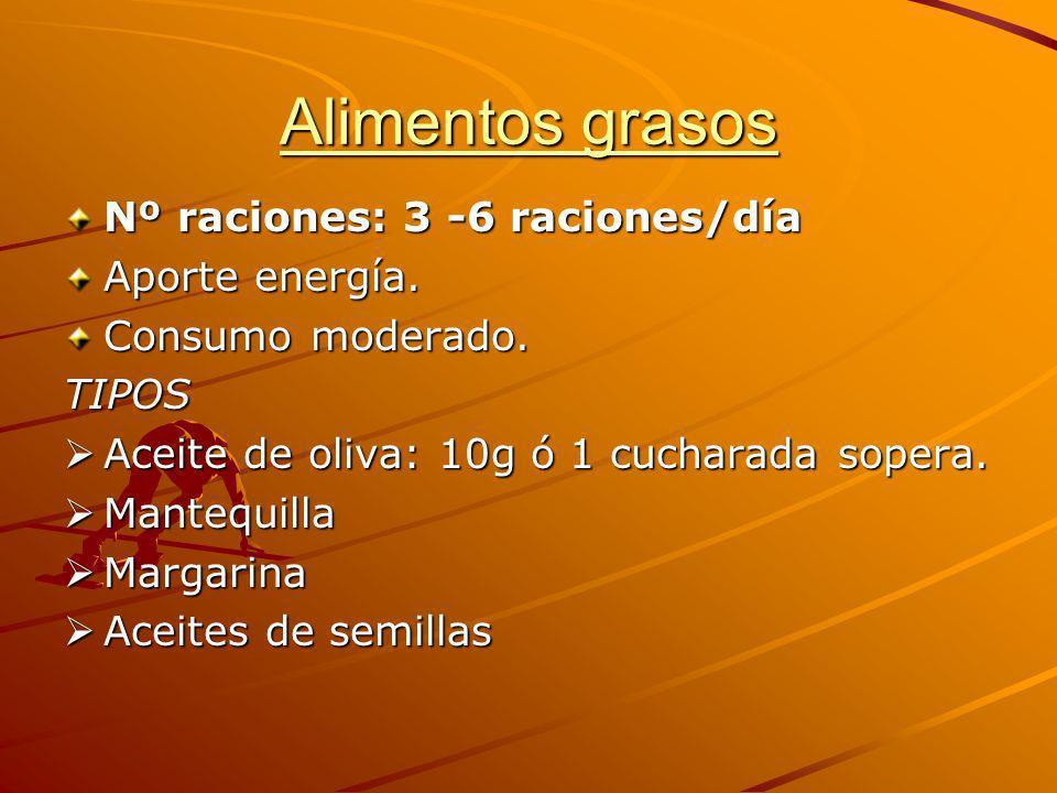 Alimentos grasos Nº raciones: 3 -6 raciones/día Aporte energía.