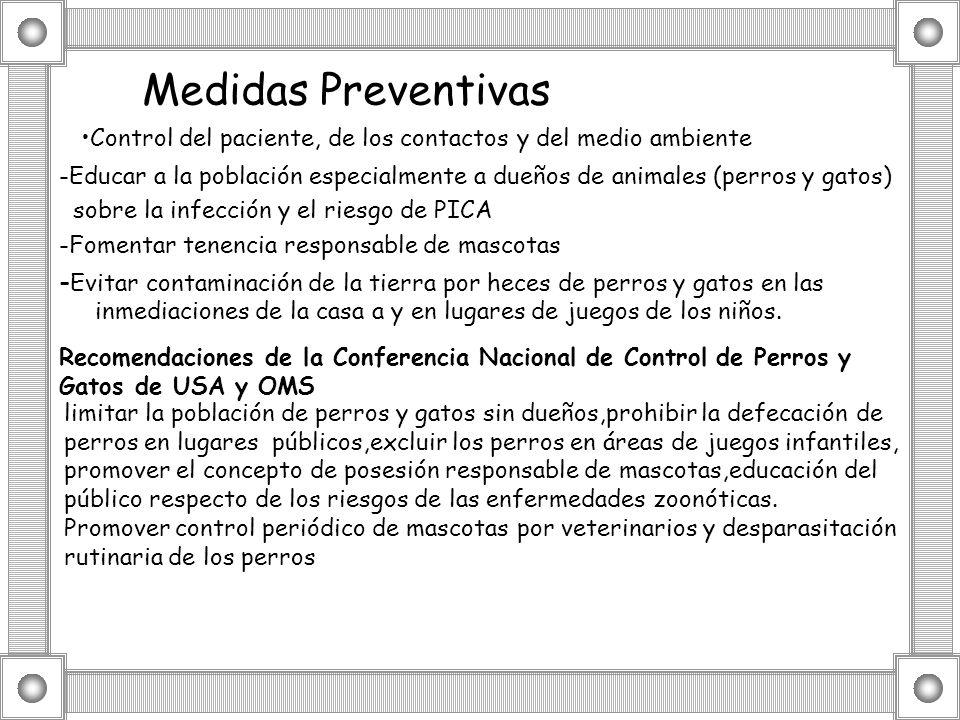 Medidas PreventivasControl del paciente, de los contactos y del medio ambiente.