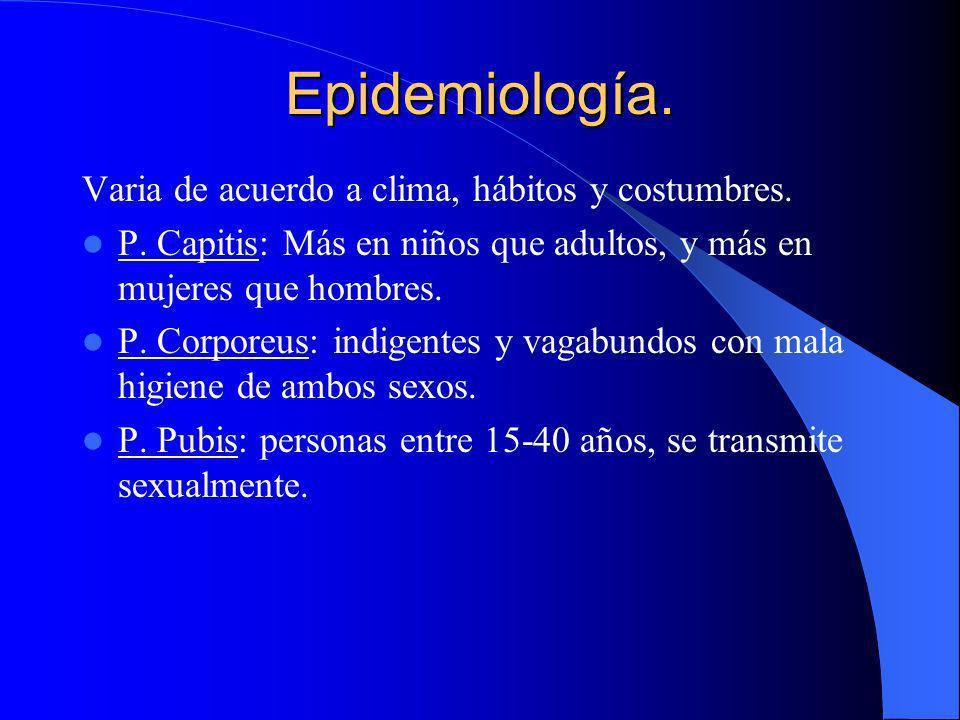 Epidemiología. Varia de acuerdo a clima, hábitos y costumbres.
