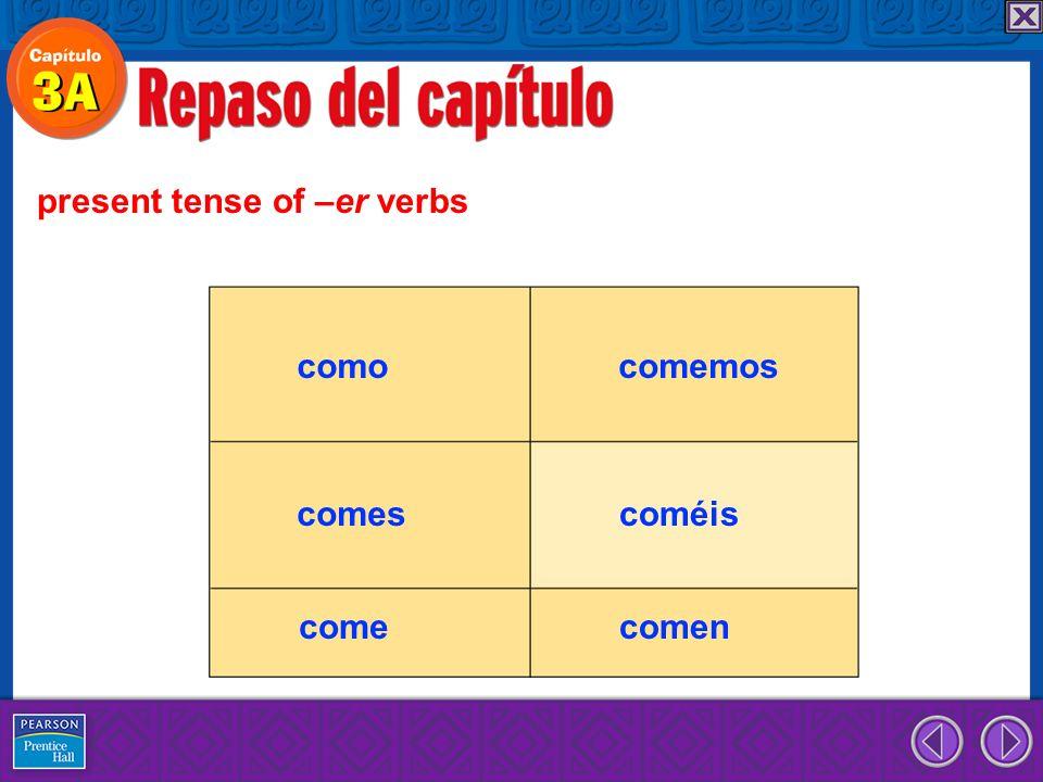 present tense of –er verbs