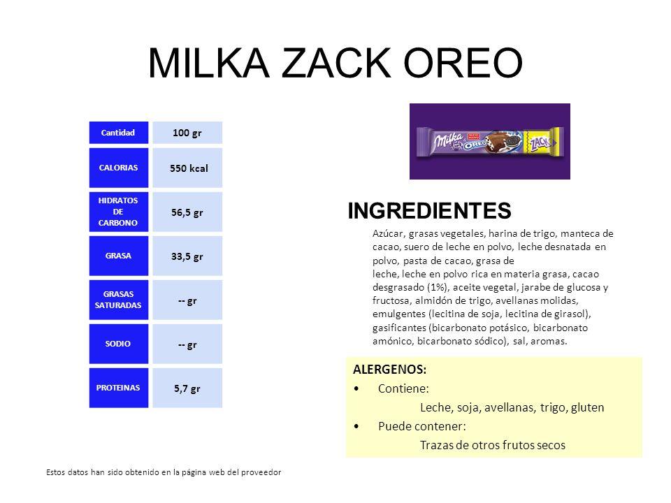 MILKA ZACK OREO INGREDIENTES ALERGENOS: Contiene:
