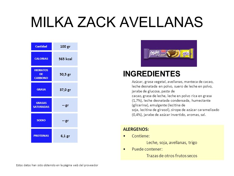 MILKA ZACK AVELLANAS INGREDIENTES ALERGENOS: Contiene:
