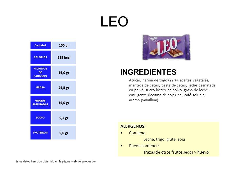 LEO INGREDIENTES ALERGENOS: Contiene: Leche, trigo, glute, soja