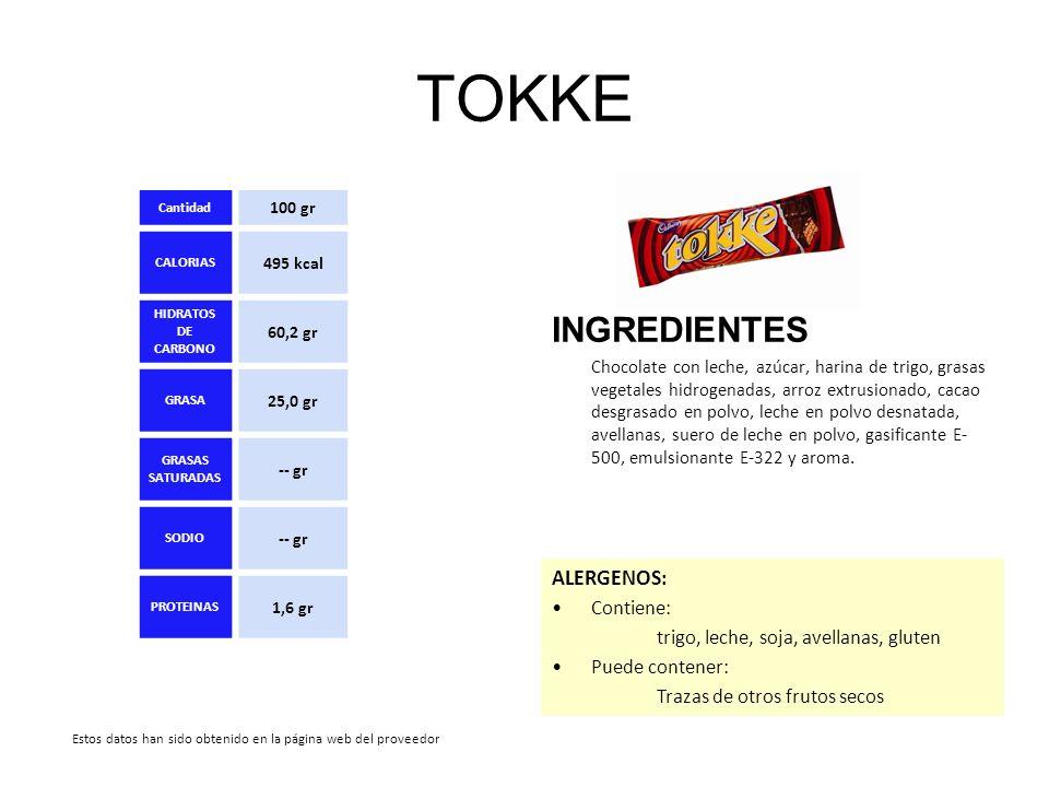 TOKKE INGREDIENTES ALERGENOS: Contiene: