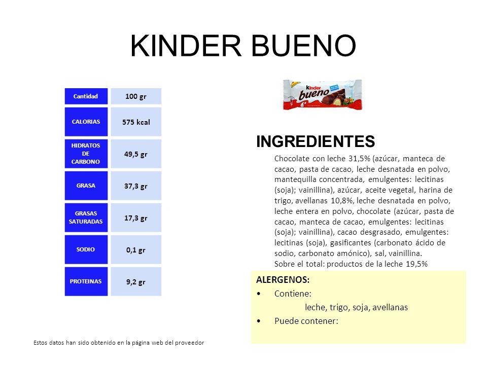 KINDER BUENO INGREDIENTES ALERGENOS: Contiene: