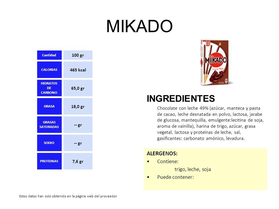 MIKADO INGREDIENTES ALERGENOS: Contiene: trigo, leche, soja