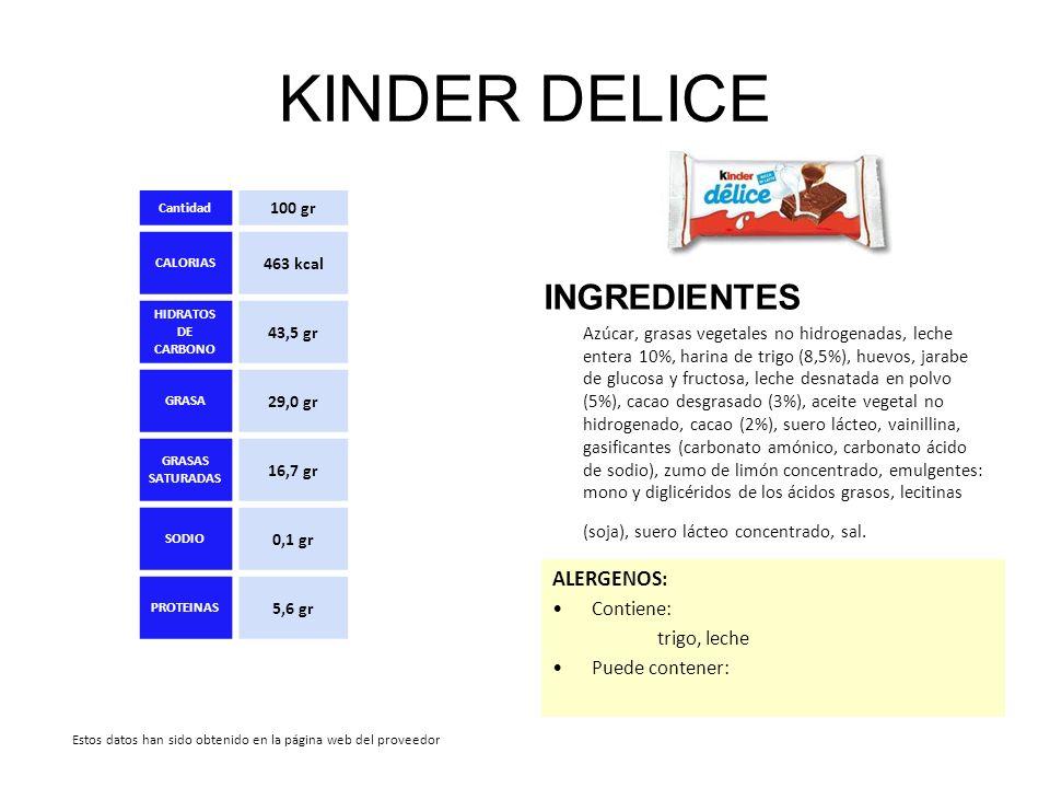 KINDER DELICE INGREDIENTES ALERGENOS: Contiene: trigo, leche